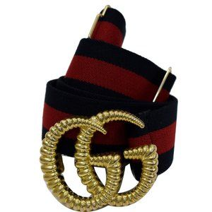 Gucci Blue Torchon Double G Web Elastic Navy Belt